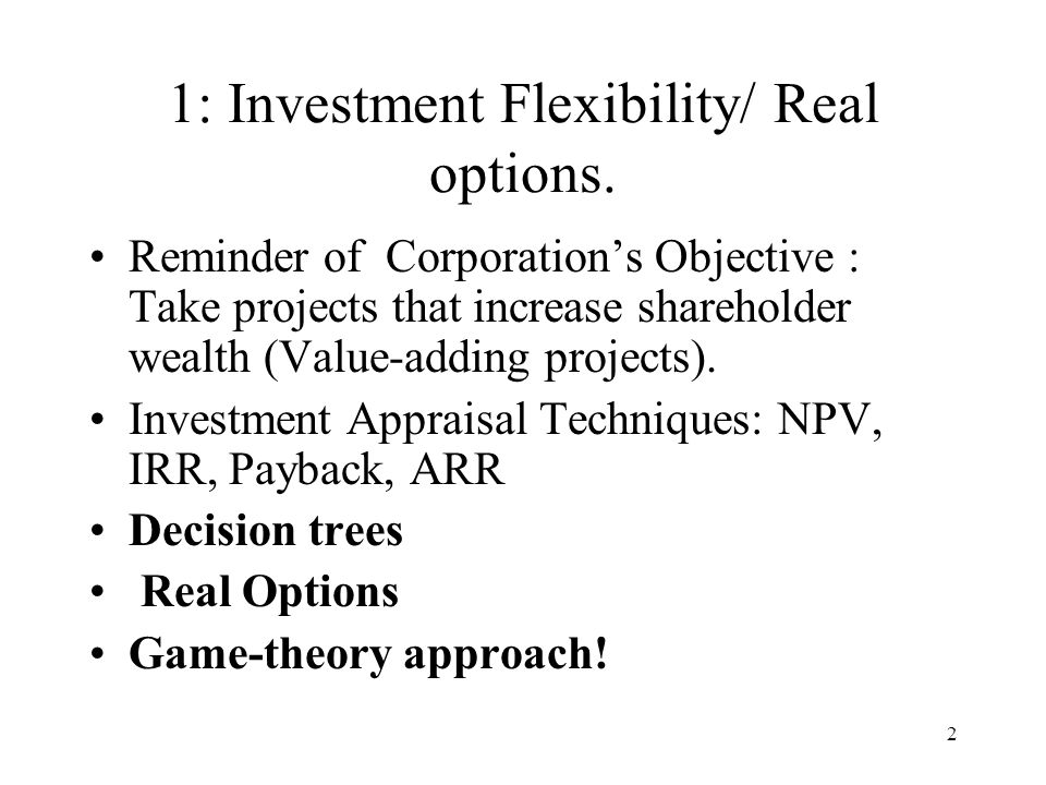 1: Investment Flexibility/ Real options.
