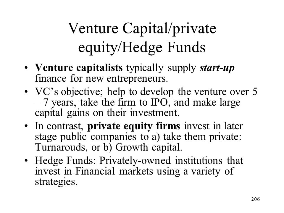Venture Capital/private equity/Hedge Funds