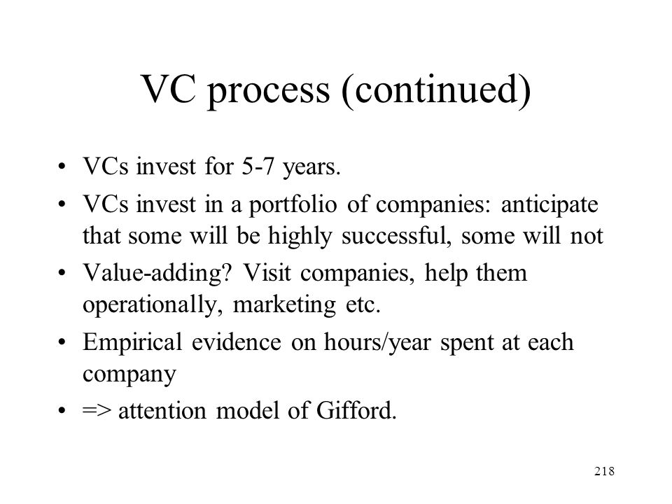 VC process (continued)