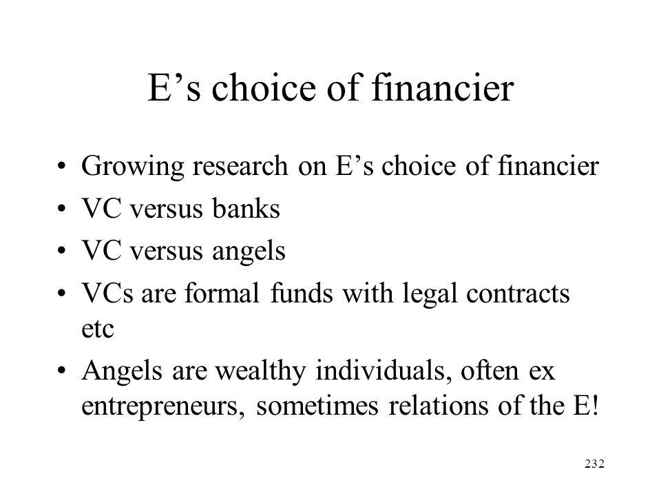E's choice of financier