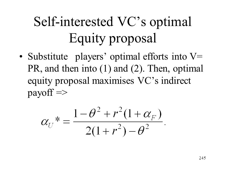 Self-interested VC's optimal Equity proposal