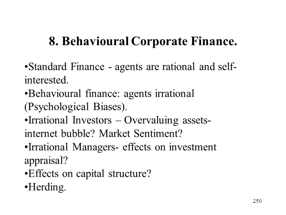 8. Behavioural Corporate Finance.