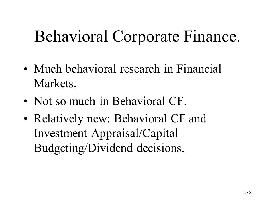 Behavioral Corporate Finance.