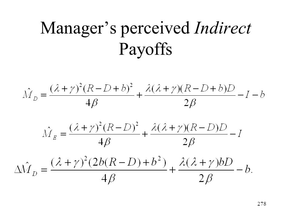 Manager's perceived Indirect Payoffs