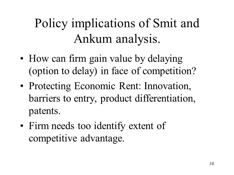 Policy implications of Smit and Ankum analysis.