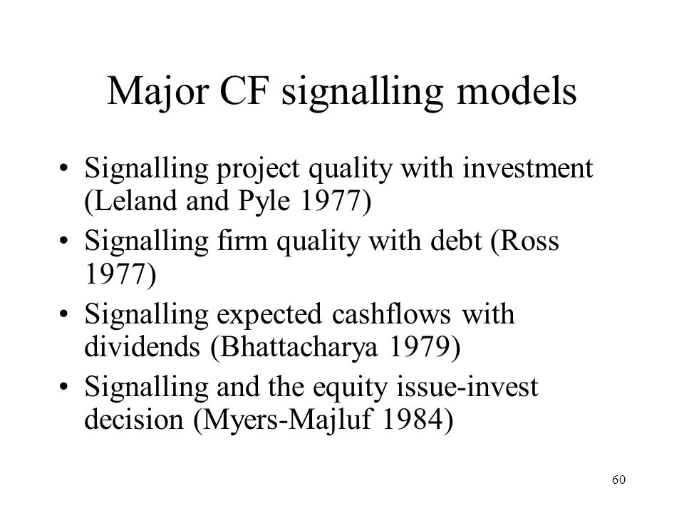 Major CF signalling models