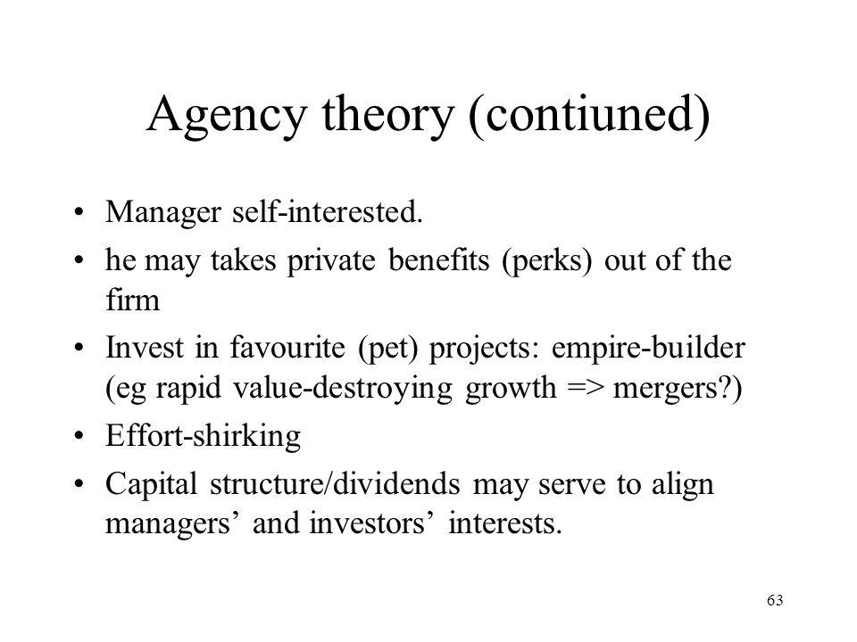 Agency theory (contiuned)