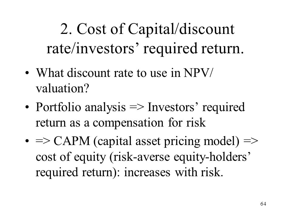 2. Cost of Capital/discount rate/investors' required return.