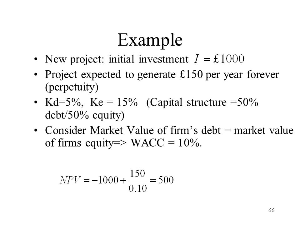 Example New project: initial investment