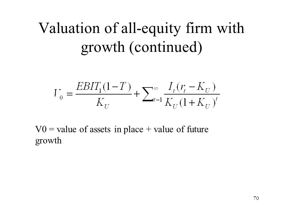 Valuation of all-equity firm with growth (continued)