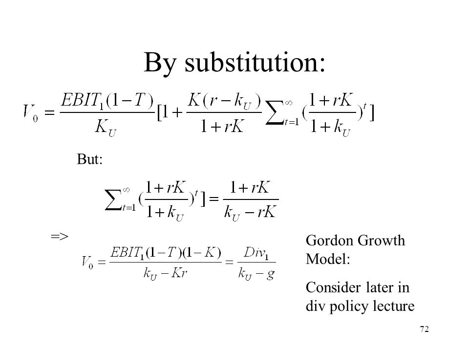 By substitution: But: => Gordon Growth Model: