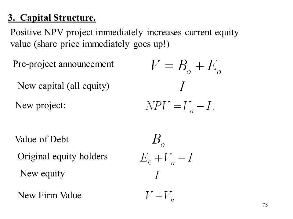 3. Capital Structure. Positive NPV project immediately increases current equity value (share price immediately goes up!)