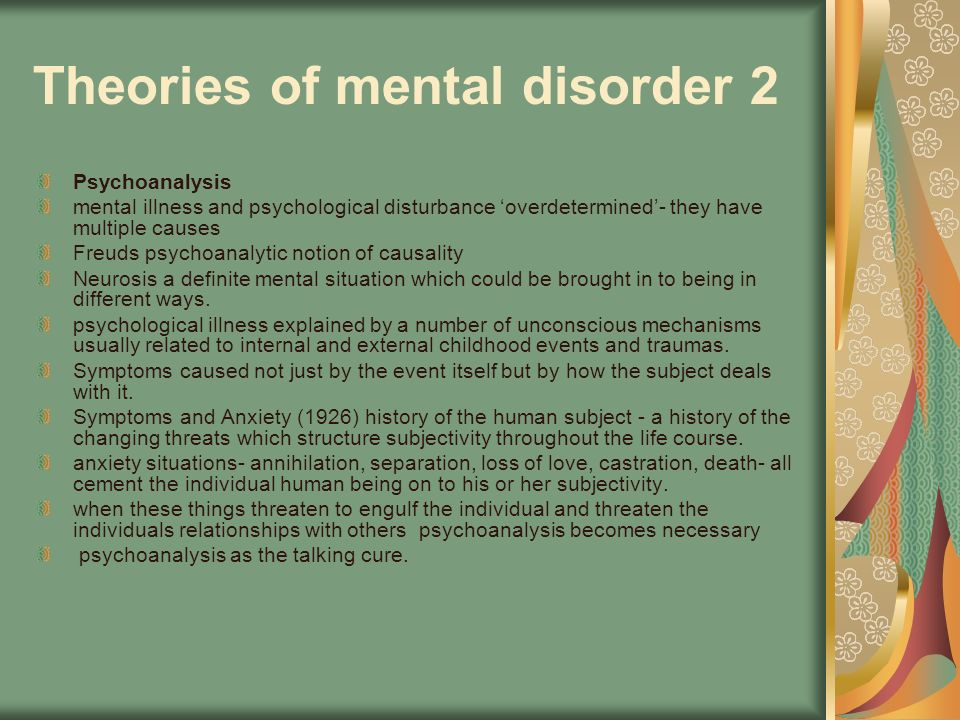 Theories of mental disorder 2
