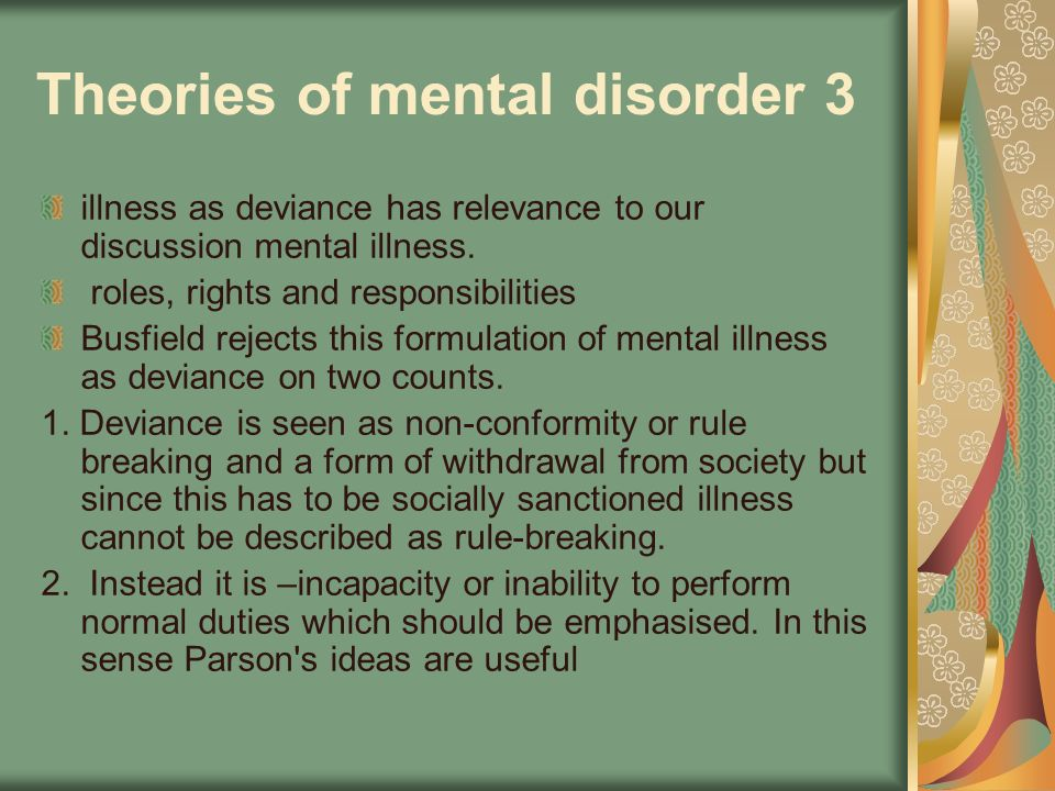 Theories of mental disorder 3