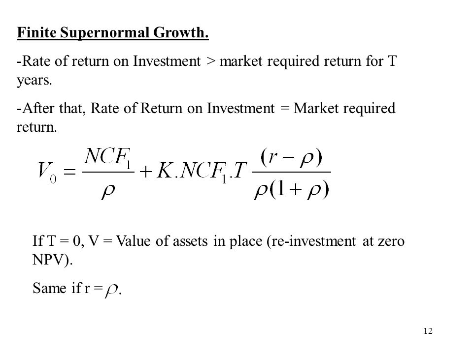 Finite Supernormal Growth.