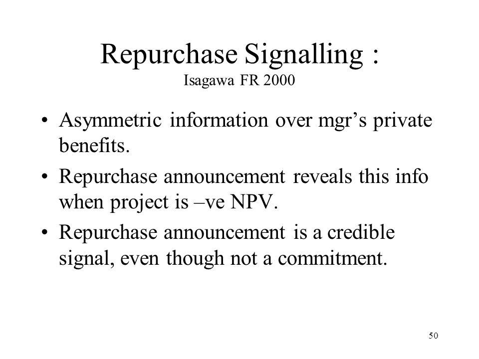 Repurchase Signalling : Isagawa FR 2000