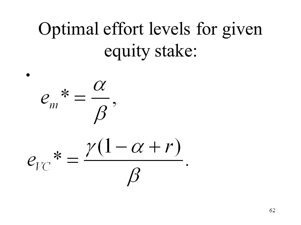 Optimal effort levels for given equity stake: