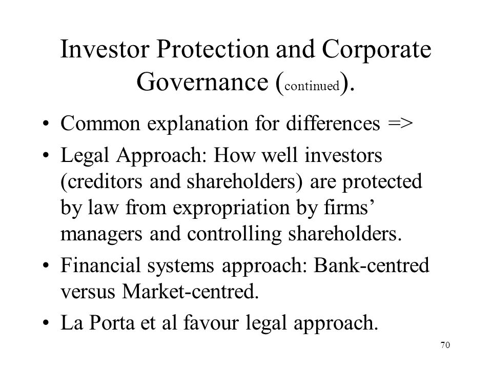Investor Protection and Corporate Governance (continued).