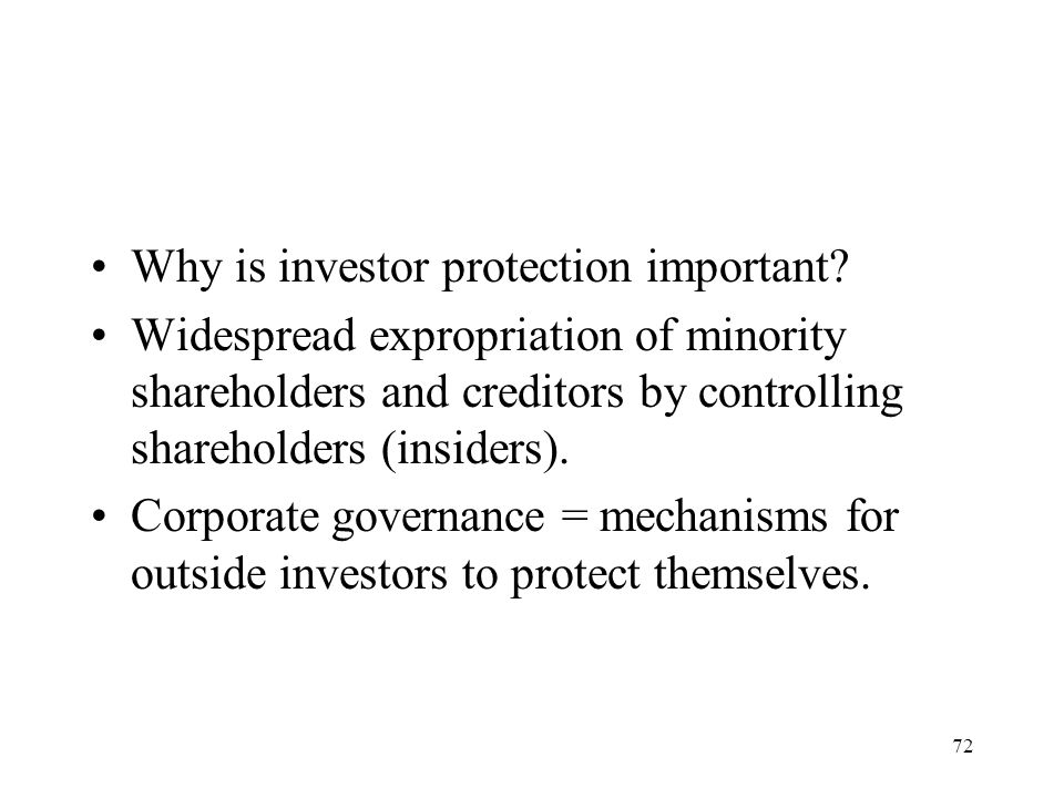 Why is investor protection important