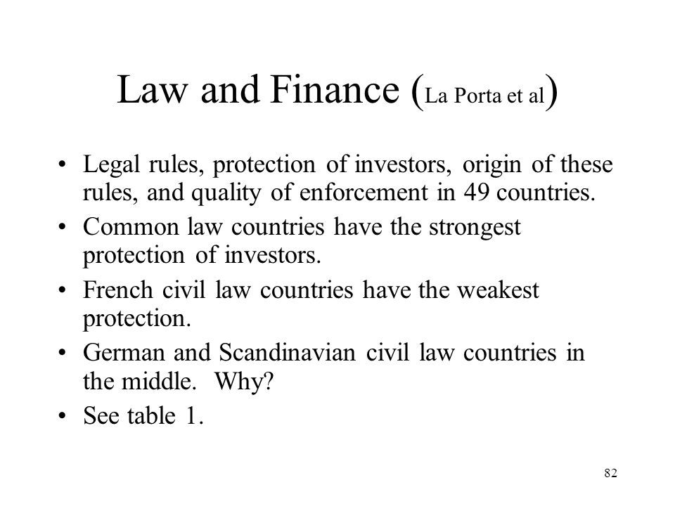Law and Finance (La Porta et al)