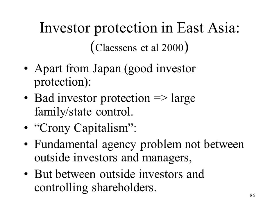 Investor protection in East Asia: (Claessens et al 2000)