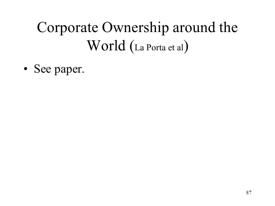 Corporate Ownership around the World (La Porta et al)