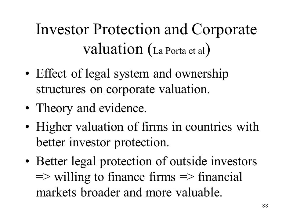 Investor Protection and Corporate valuation (La Porta et al)
