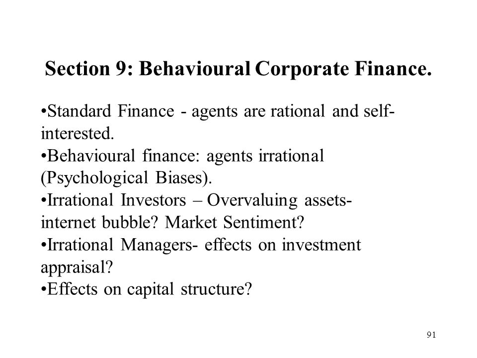 Section 9: Behavioural Corporate Finance.