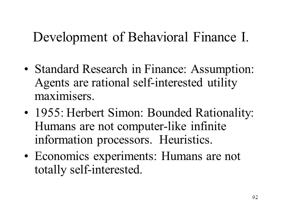 Development of Behavioral Finance I.