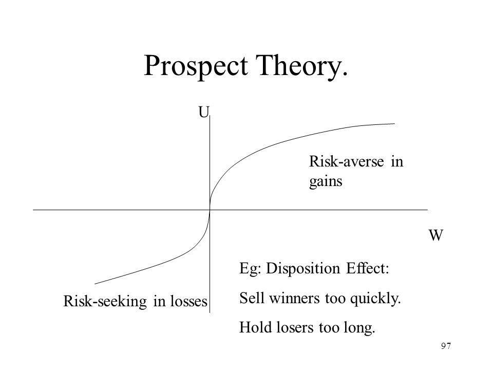 Prospect Theory. U Risk-averse in gains W Eg: Disposition Effect: