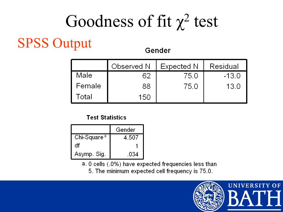 Goodness of fit χ2 test SPSS Output