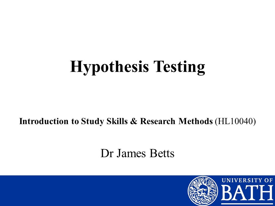 Introduction to Study Skills & Research Methods (HL10040)