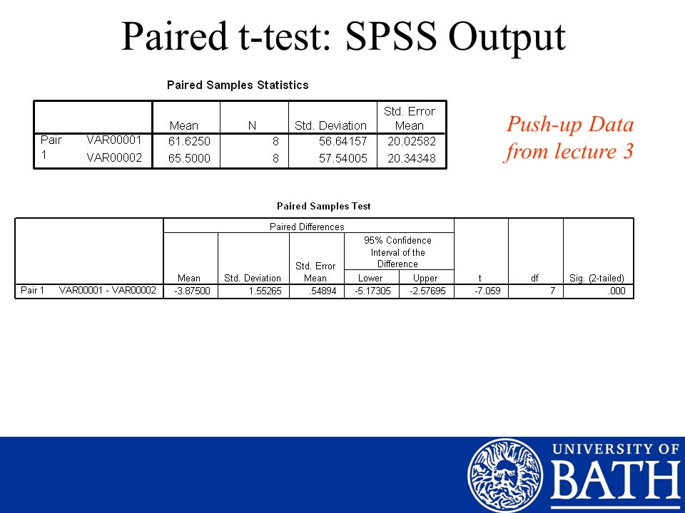 Paired t-test: SPSS Output