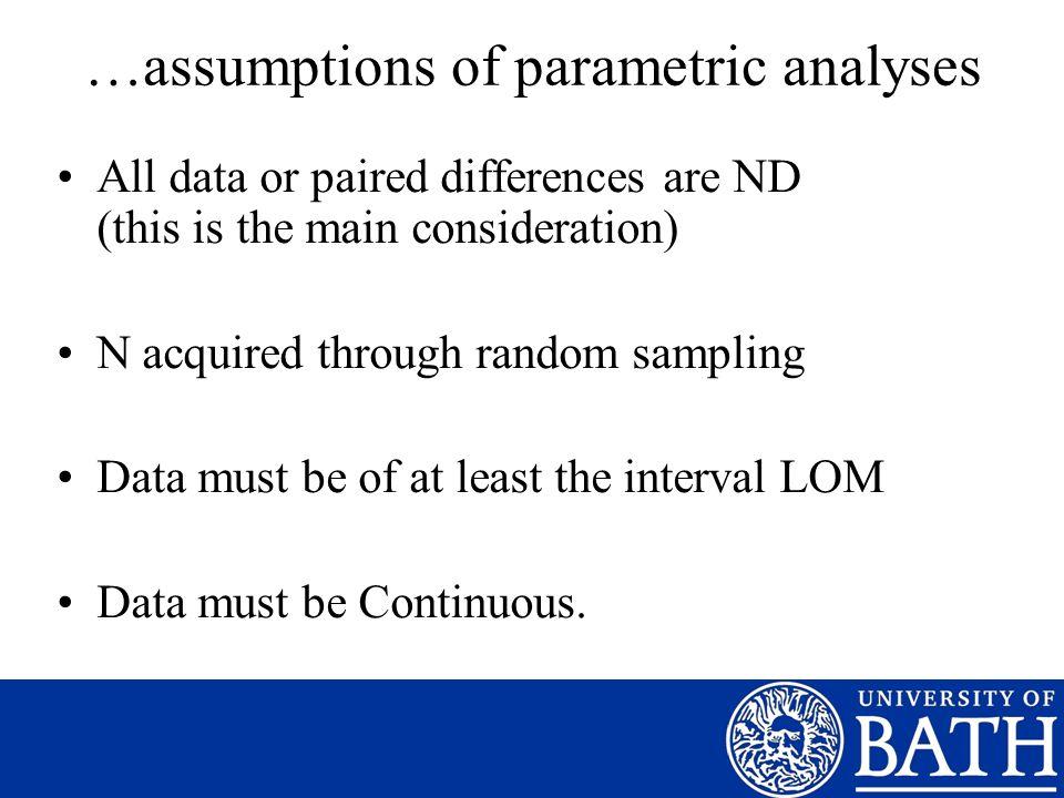 …assumptions of parametric analyses