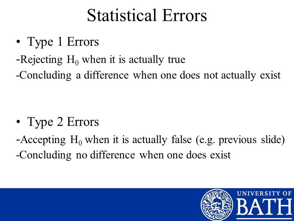 Statistical Errors Type 1 Errors