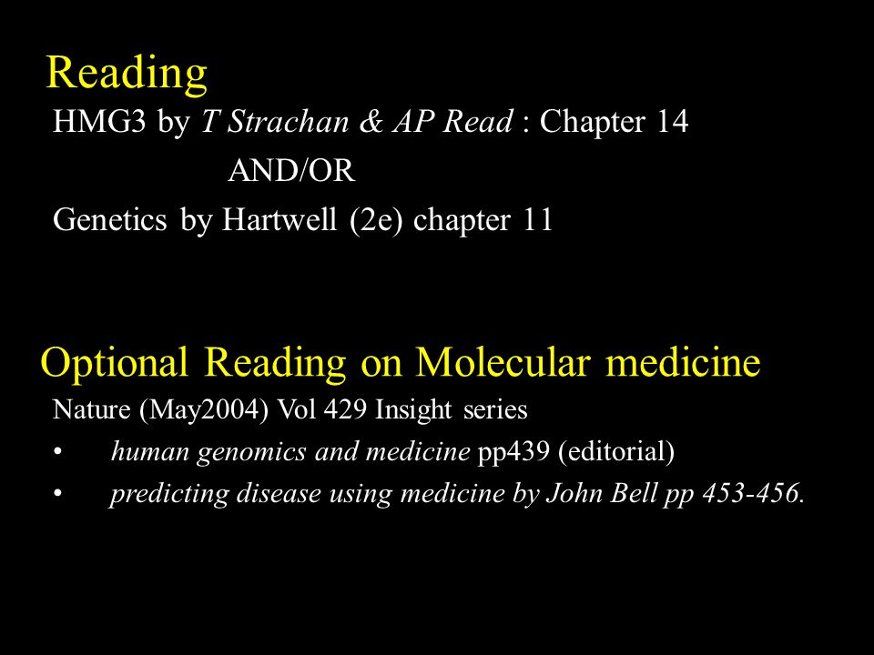 Optional Reading on Molecular medicine