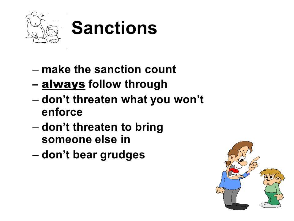 Sanctions make the sanction count always follow through