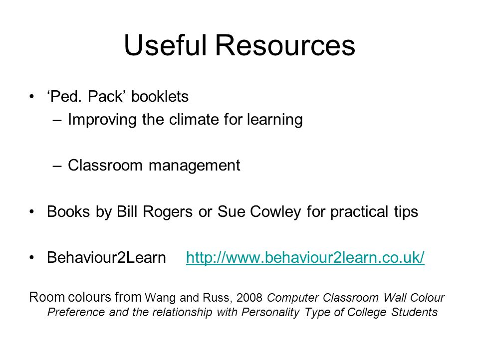 Useful Resources 'Ped. Pack' booklets