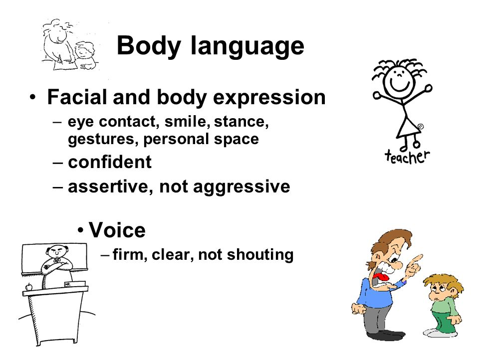 Body language Facial and body expression Voice confident