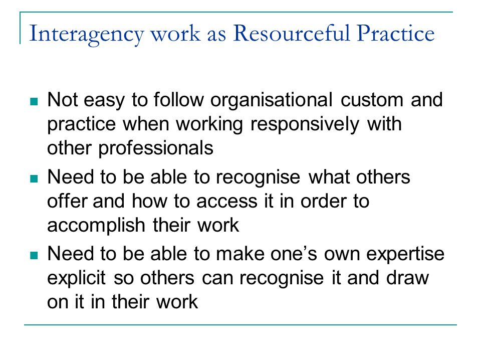 Interagency work as Resourceful Practice