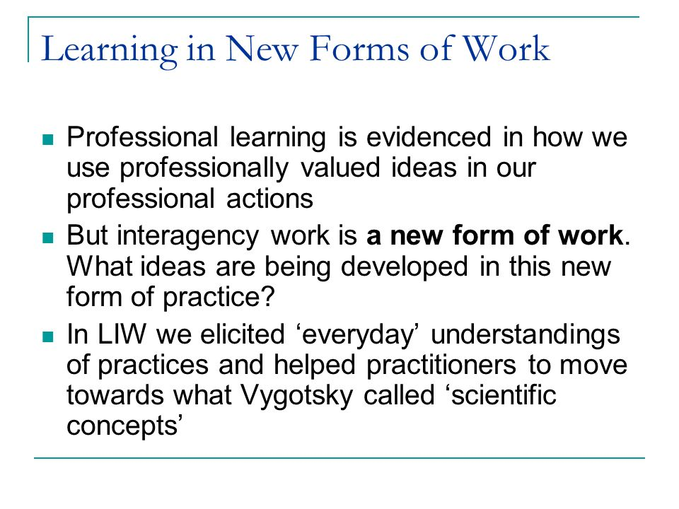 Learning in New Forms of Work