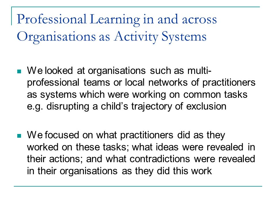 Professional Learning in and across Organisations as Activity Systems