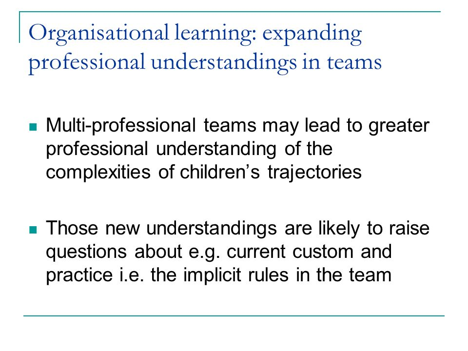 Organisational learning: expanding professional understandings in teams