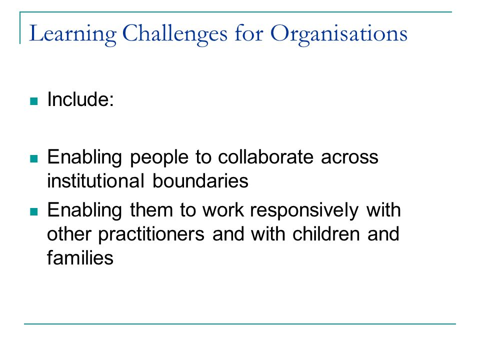 Learning Challenges for Organisations