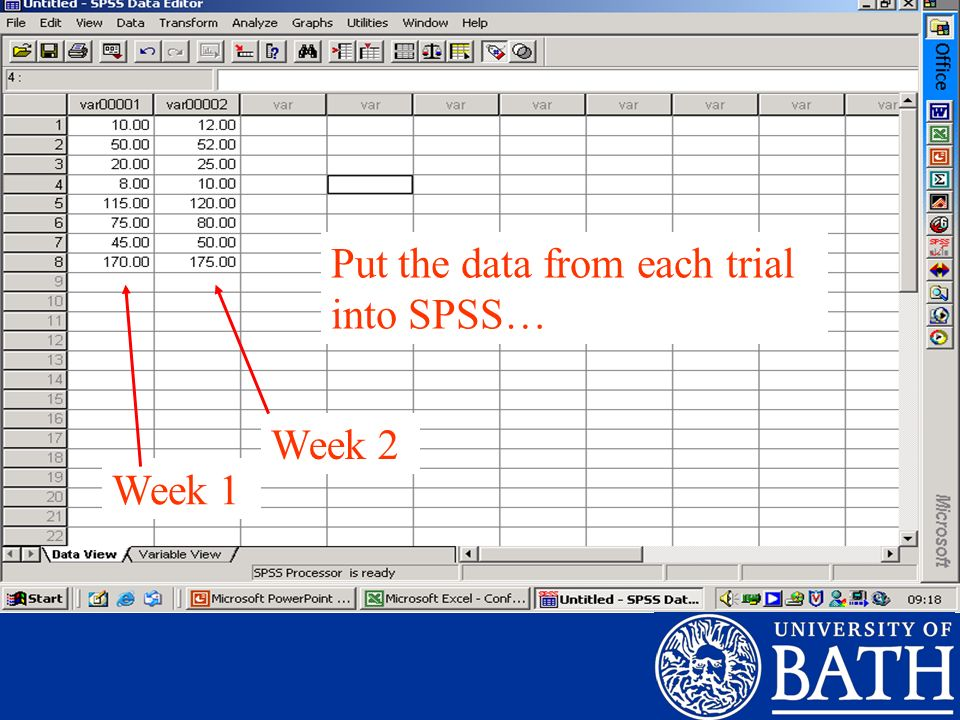 Put the data from each trial into SPSS…