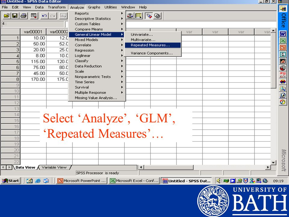 Select 'Analyze', 'GLM', 'Repeated Measures'…