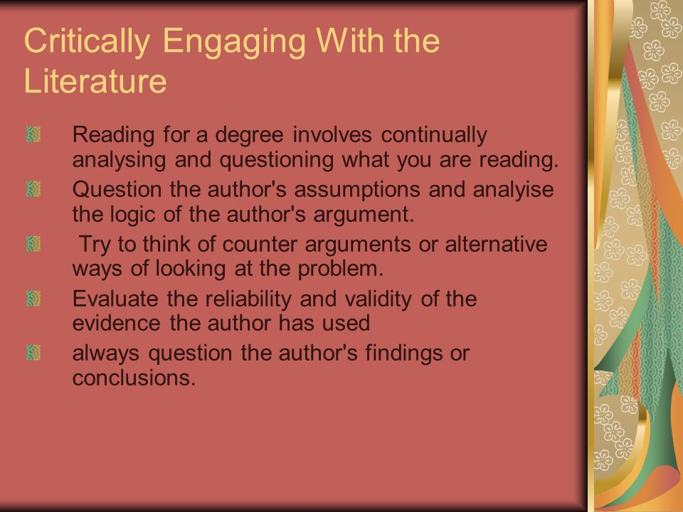 Critically Engaging With the Literature