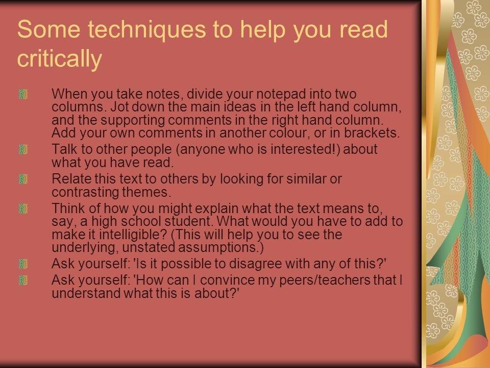 Some techniques to help you read critically