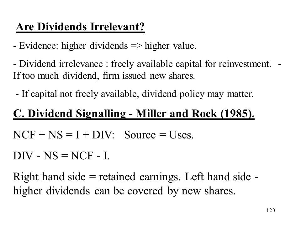 C. Dividend Signalling - Miller and Rock (1985).