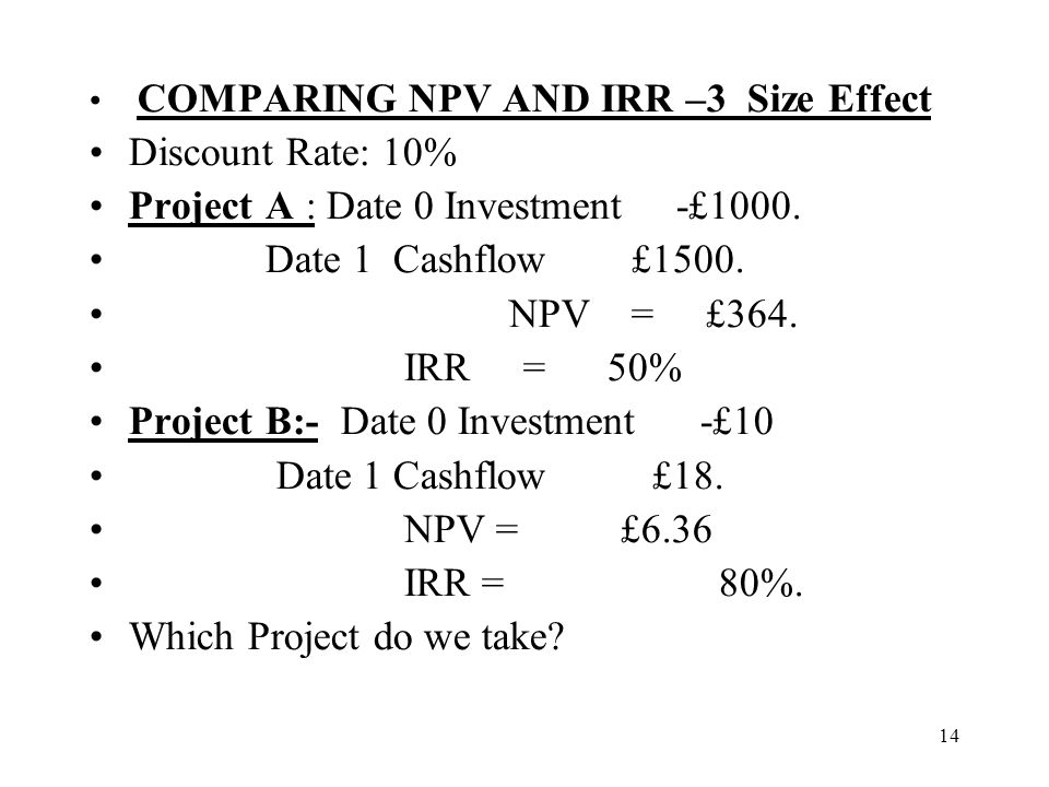 Project A : Date 0 Investment -£1000. Date 1 Cashflow £1500.
